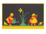 Dutch Children Watering Daffodil