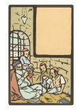 Rabbi Teaching Students  Woodcut
