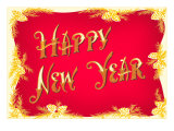 Happy New Year  Red and Gold