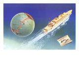 Cruise Ship with Routes on Globe  Matson Line