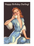 Girl in Fur Robe on Telephone