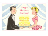 Happy Birthday Darling  Cartoon Couple with Cake