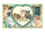 Victorian Kittens and Cupids  Love's Message