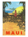 Maui  Cruise Ship  Hawaiian Girl on Jungle Path