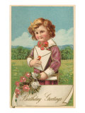 Birthday Greetings  Victorian Boy with Letter