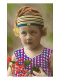 Little Girl in Cap Holding Orchids