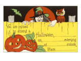 Halloween Party Invitation  Witch  Jack O'Lanterns