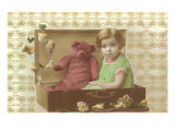 Little Girl in Suitcase with Teddy Bear