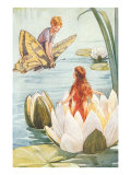 Boy Riding Butterfly and Girl in Water Lily