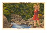 Fishing in Sun Valley  Idaho  Girl in Sun Dress
