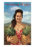 Thinking of You  Hawaiian Woman with Two Pineapples