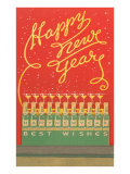 Happy New Year  Stylized Bottles and Glasses