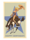 Happy Birthday  Cowgirl on Bronco