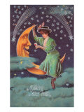 A Happy New Year  Victorian Lady on Moon