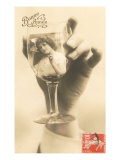 Bonne Annee  Girl in Wine Glass