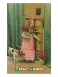 Best Wishes  Girl at Door with Jack Russell