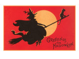 Greetings for Halloween  Witch on Broomstick