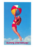 Happy Birthday  Girl Leaping with Beach Ball