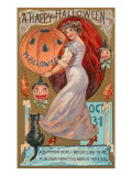 A Happy Halloween  Victorian Lady with Jack O&#39;Lantern