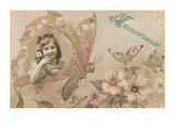 Anniversaire  Victorian Girl in Butterfly Wing