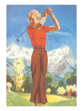 Lady Golfing in the Mountains