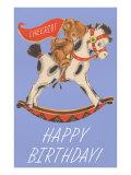 Happy Birthday  Teddy Bear Riding Hobby Horse