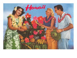 Hawaii  Tourist Couple  Fruit  Hawaiian Lady
