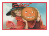Young Girl Witch with Jack O&#39;Lantern