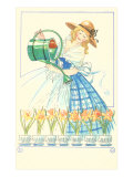 Costumed Lady Watering Daffodils