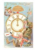 Happy New Year  Elves with Clock
