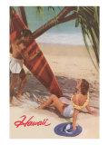 Hawaii  Tourists with Surfboard