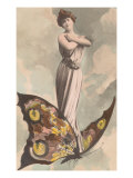 Victorian Lady Standing on Butterfly