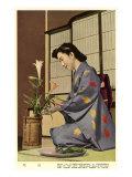 Geisha Doing Ikebana  Japan