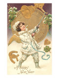 Happy New Year  Victorian Child Ringing Bell