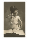 Little Boy in Top Hat Reading Book