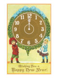Victorian Children with Clock  Happy New Year