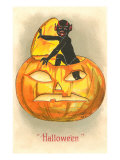 Halloween  Black Devil in Jack O&#39;Lantern