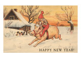Happy New Year  Elf Riding Pig