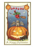 Witch  Owl Perched on Jack O&#39;Lantern