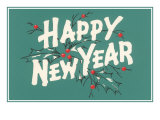 Happy New Year  Holly on Blue-Gray Background