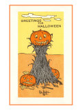 Greetings for Halloween  Jack O&#39;Lanterns and Sheaf