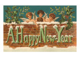 A Happy New Year  Angels on Brick Wall
