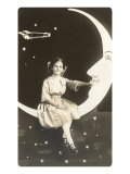 Girl Sitting on Crescent Moon