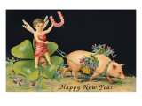 Happy New Year  Dragonfly-Boy with Pig