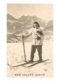 Sun Valley  Idaho  Girl Skiing with Cat