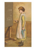 Victorian Girl Adding at Chalkboard