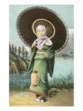 Japanese Woman with Umbrella and Lantern