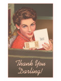 Thank You Darling  Woman with Card and Case