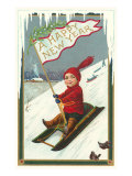 A Happy New Year  Victorian Boy on Sled