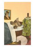 Kitten Sleeping in Bed